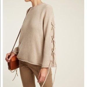 See by Chloe Lace-Up Sleeves Cable-Knit Sweater